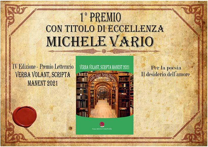 Michele Vario vince il Premio 'Verba Volant, Scripta Manent 2021' - Nuova  Irpinia